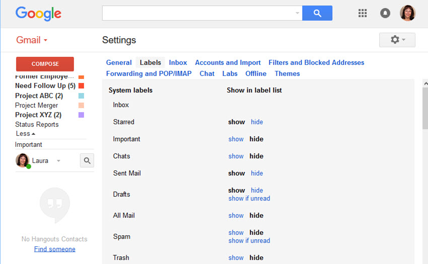 Gmail Label Settings screen