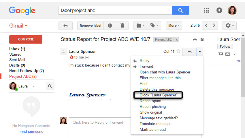 Block messages Gmail feature