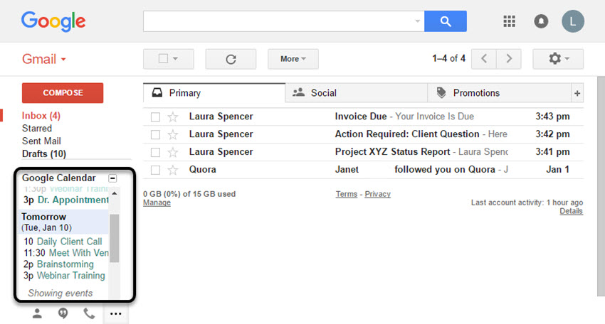 Google Calendar Gadget in Gmail