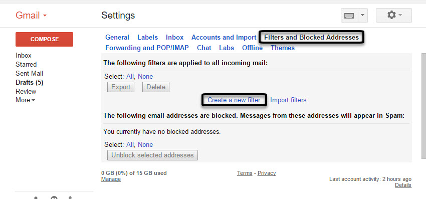 Creating a Gmail filter
