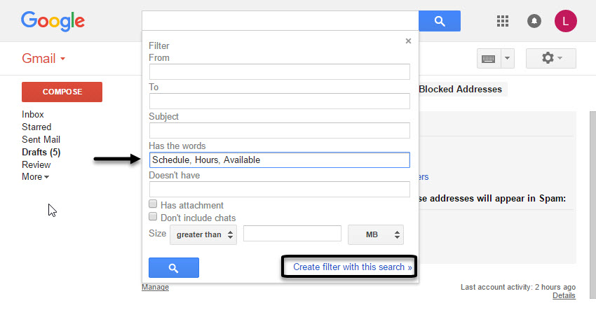 Advanced Gmail Search Box