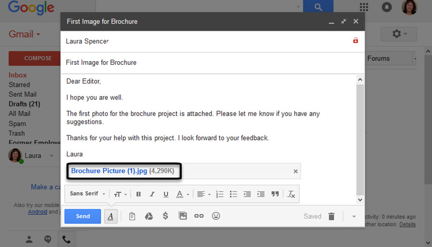New message with attachment in Gmail