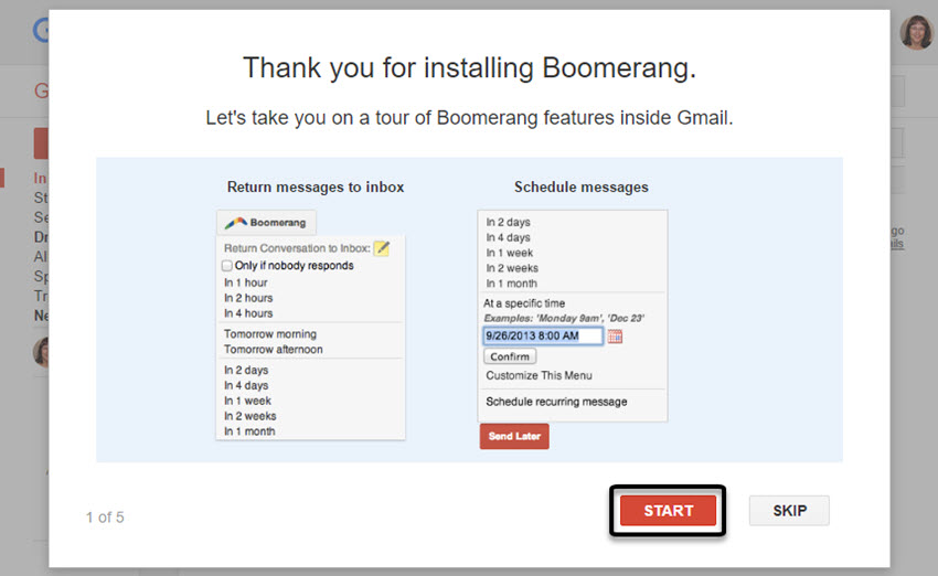Boomerang for Gmail Thank You