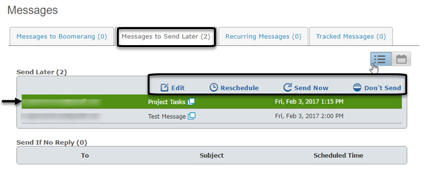 Boomerang Messages to Send Later tab
