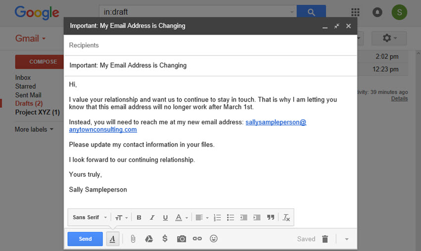 Sample message to notify about closing Gmail account