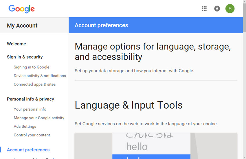 Google Account Preferences screen