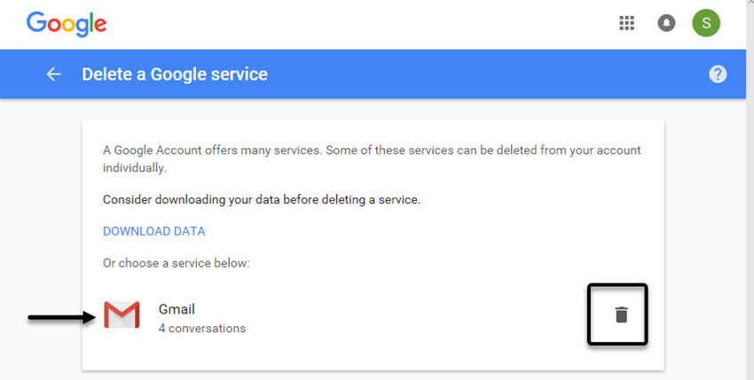 Delete a Google service screen