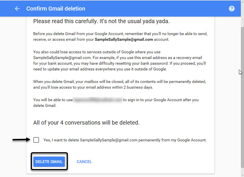 Confirm Gmail deletion screen