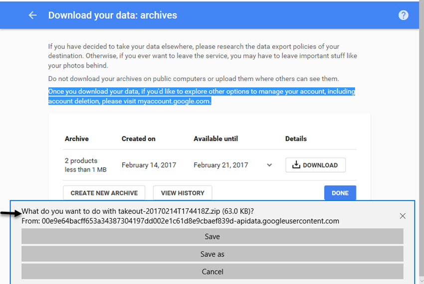 Download your data archive screen