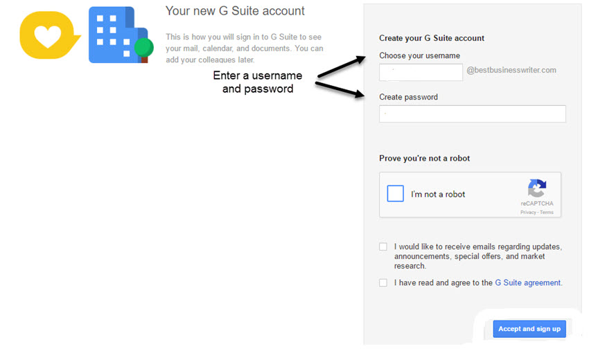 Your New G Suite Account Screen Create A Username And Pword For Gmail Business