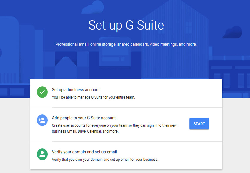 Set Up G Suite Screen
