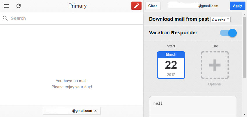Gmail Offline Vacation Responder options