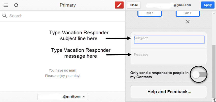 Vacation Responder Message