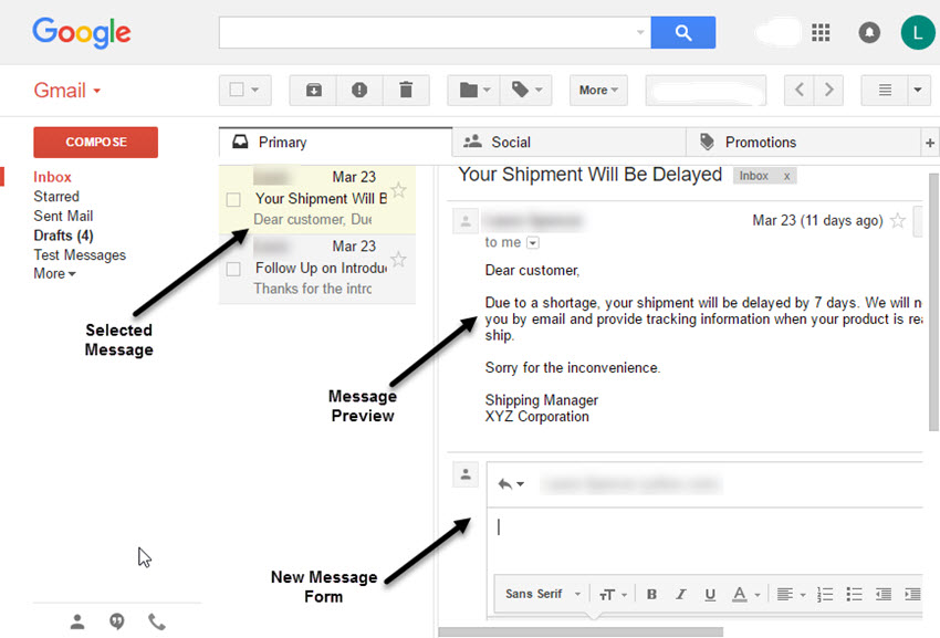 The Gmail New Message form in the preview pane