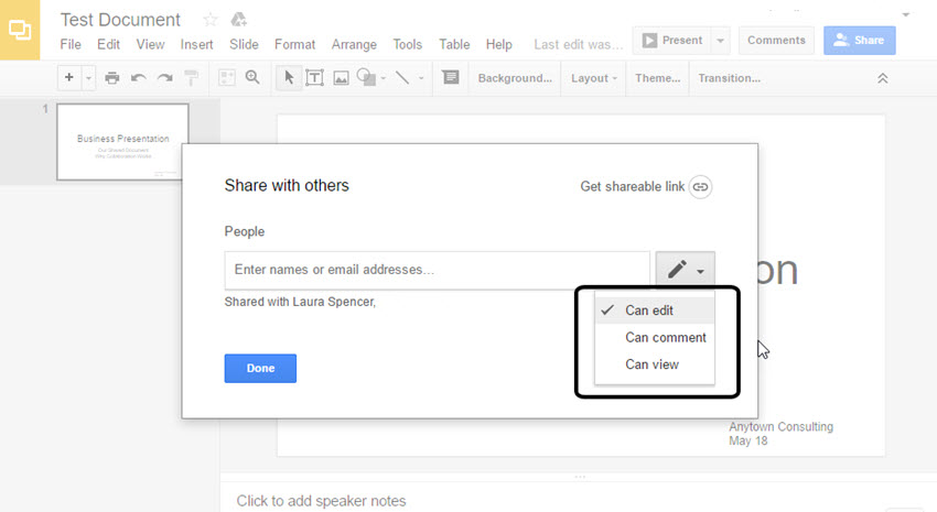 Google Slides access control