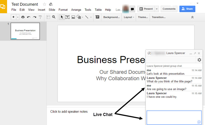 Google Slides live chat
