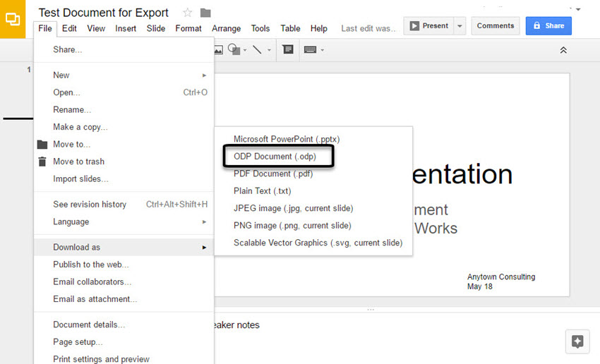 Google Slides export submenu