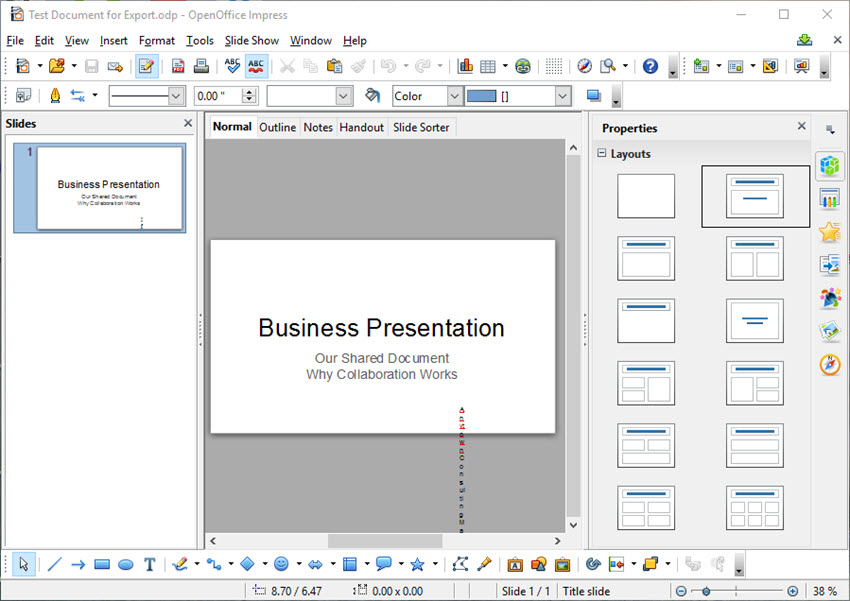 Google Slides converted to Open Office