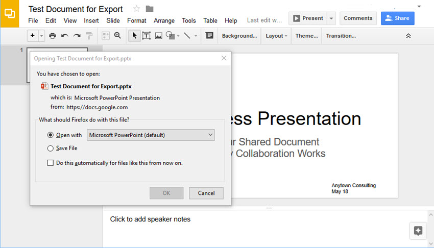 Google Slides conversion in Firefox