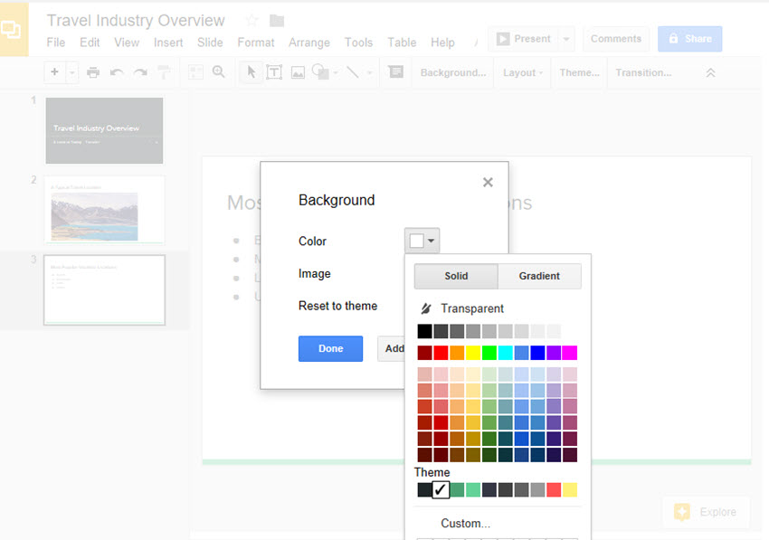 how to add pictures and backgrounds in google drive slides
