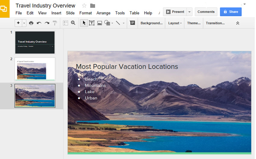 Google Drive Slides with Photo Background