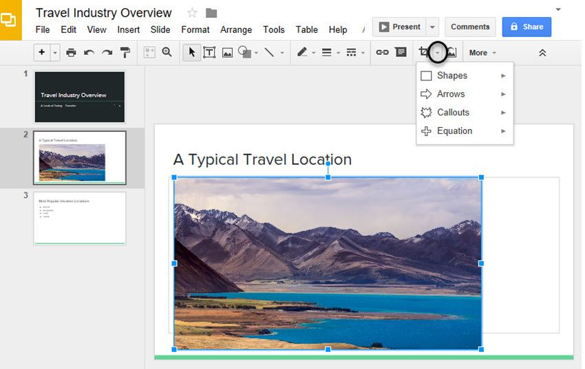 Google Drive Slides Shapes