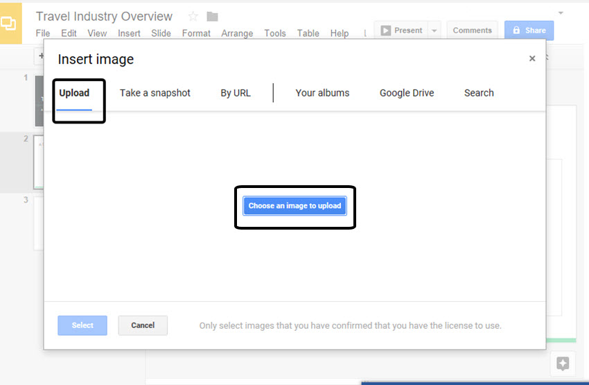 Google Drive Slides Insert Image Screen