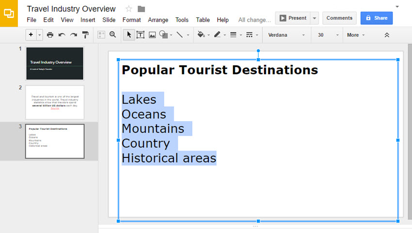 Google Slides Presentation List Text selected