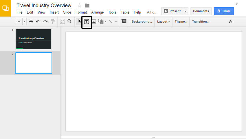 Blank Slide in Google Slides Presentation
