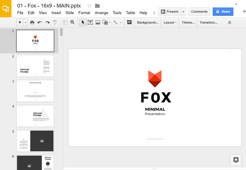 Fox minimalist Google Slides template