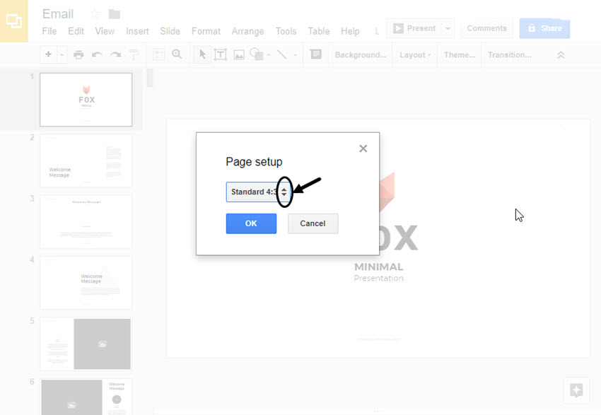 Page Setup dialog box in Google Slides