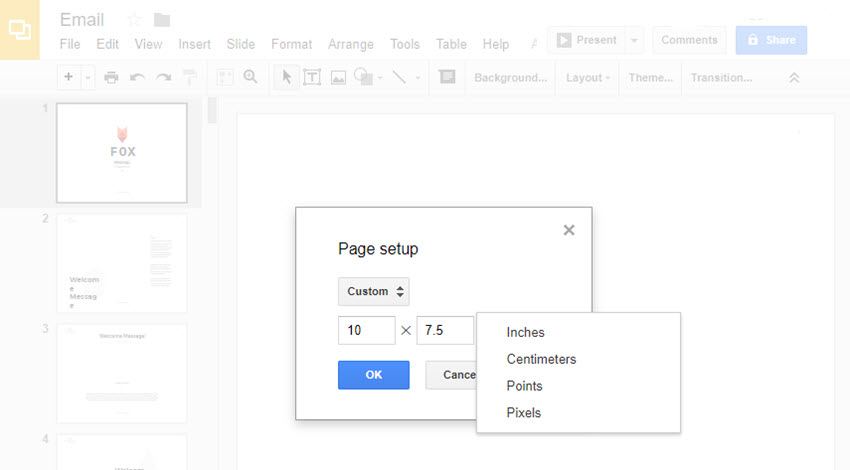 Custom slide size option in Google Slides