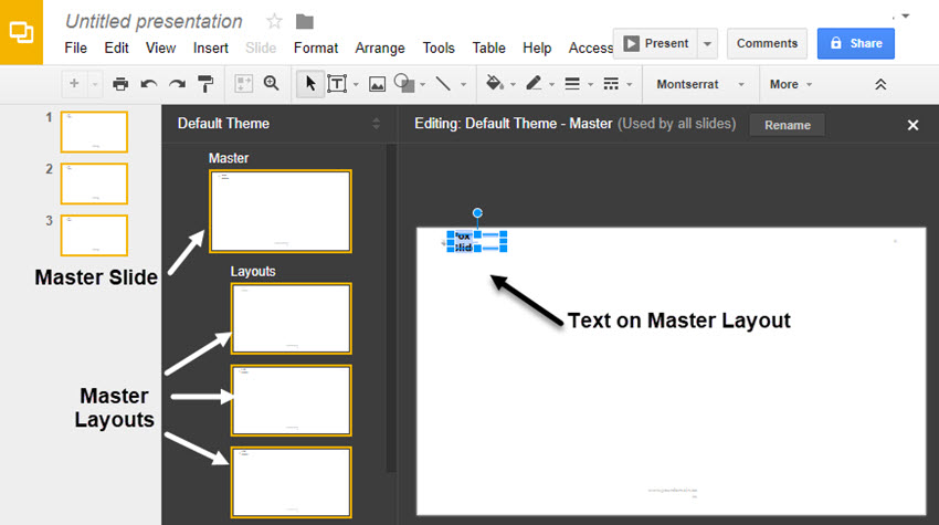 Master Layout Editing dialog box in Google Slides