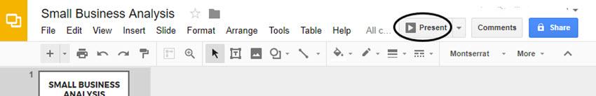 Google Slides Present Option