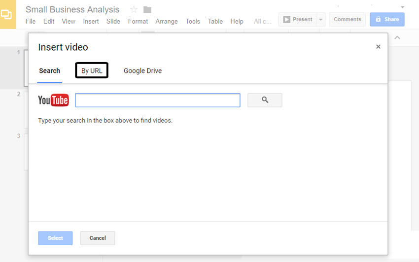 Insert Video Dialog Box in GoogleSlides