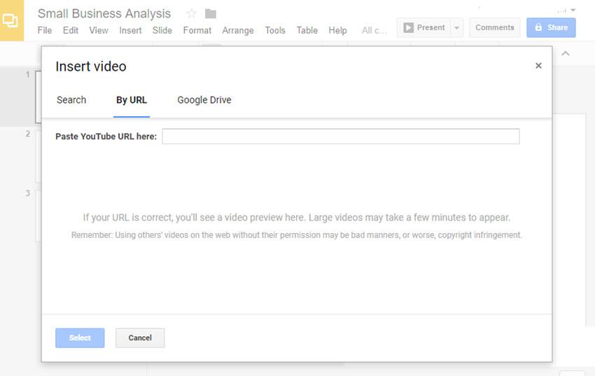Insert URL in GoogleSlides