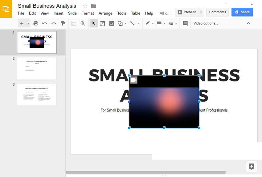 Google Slide with Inserted Video