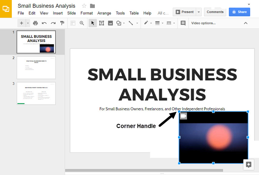 Positioning the Video in Google Slides