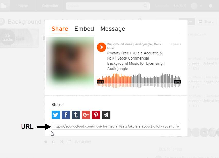 SoundCloud Sharing Screen