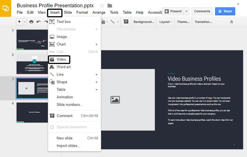 Google Slides Insert drop-down menu