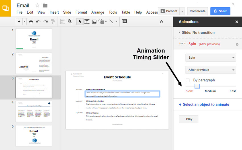 how to use google slides animations and timed transitions