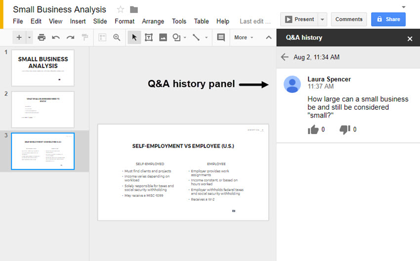 Past audience questions in Google Slides