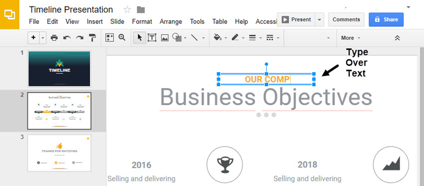 Replace text in Google Slides timeline