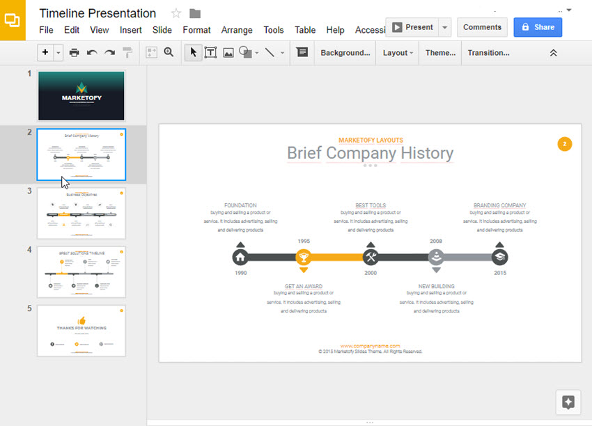 How to make a timeline on google slides with templates for Timeline in google slides