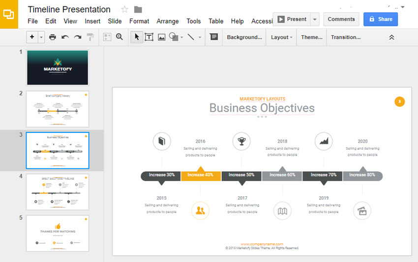 How To Make A Timeline On Google Slides With Templates - Business timeline template