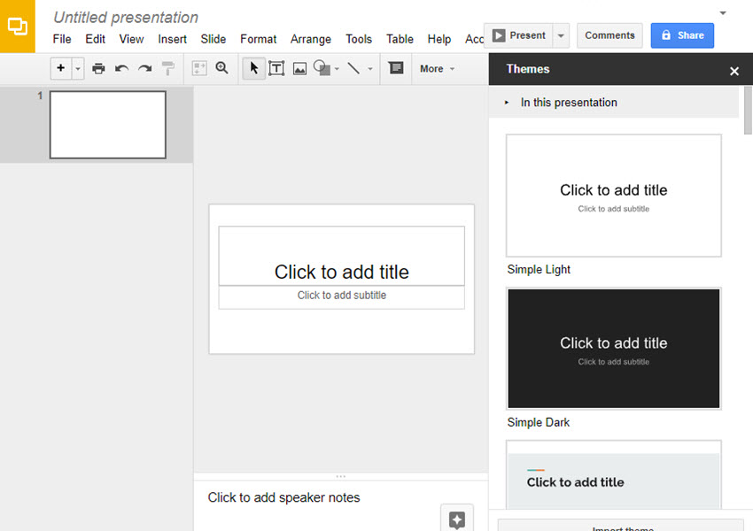 Opening a New Presentation in Google Slides