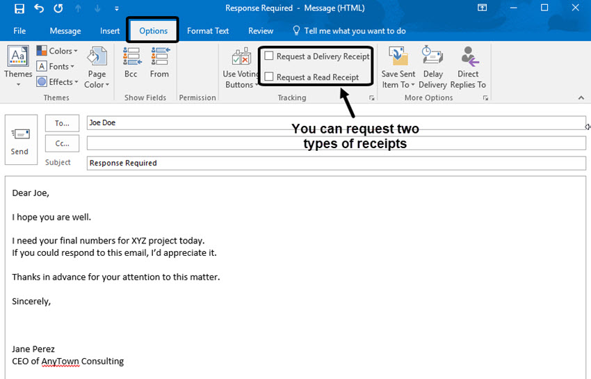 Return Request in Microsoft Outlook