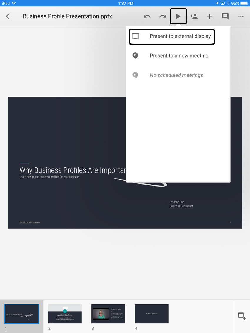 Presentation Drop-Down Menu