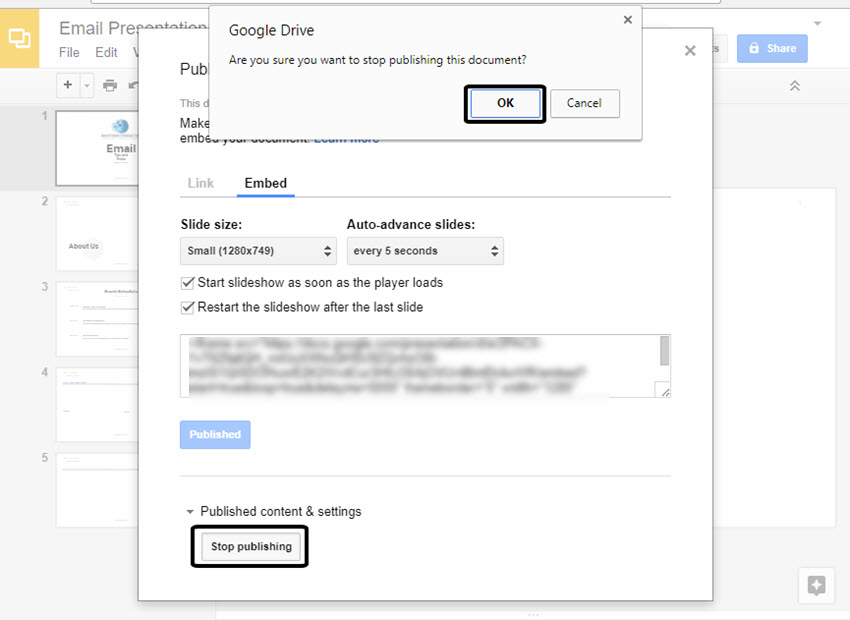 Stop Publishing Google Slides Presentation Confirmation