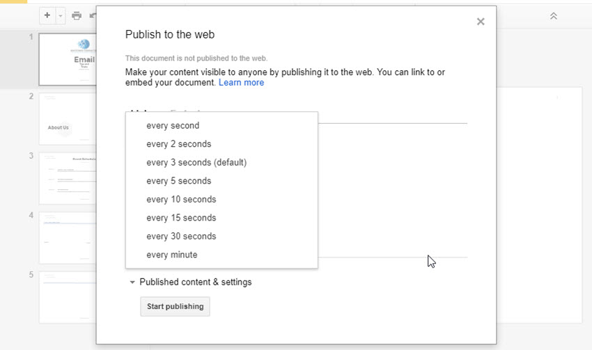 how to publish embed google slides presentations online